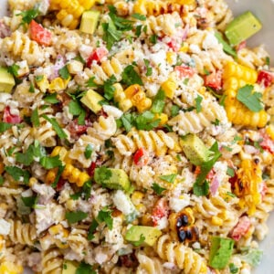 big bowl of street corn pasta salad made with rotini and lots of fresh veggies