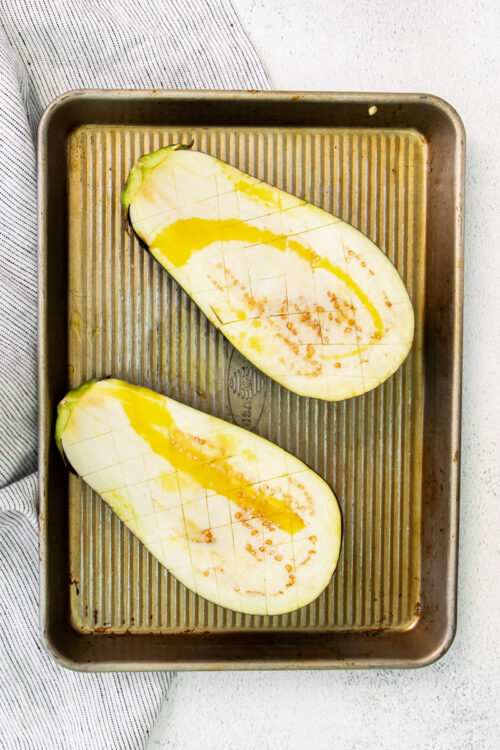 eggplant on a baking sheet pan