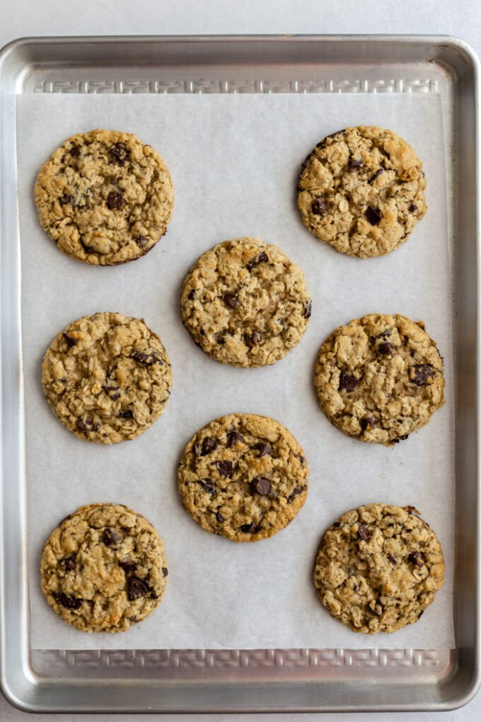 chocolate chip oatmeal cookies on a baking tray