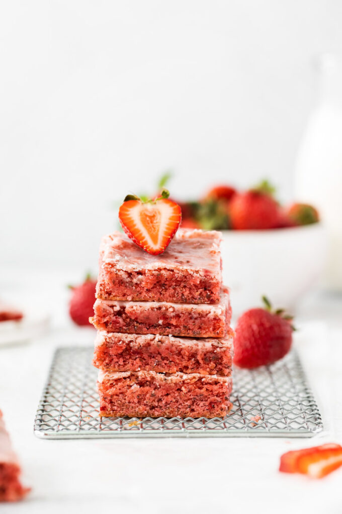 cake mix strawberry brownies stacked on top of each other