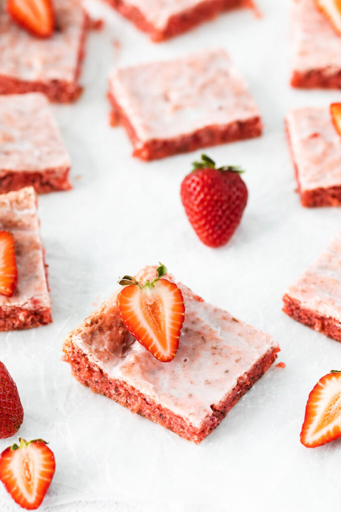 pink brownies made with a strawberry cake mix