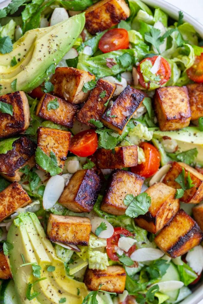 tofu salad made with fresh romaine lettuce
