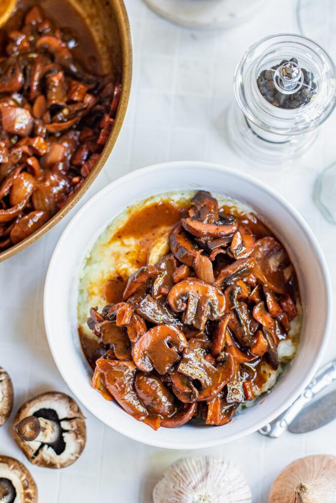 Mushrooms Bourguignon served in a white bowl