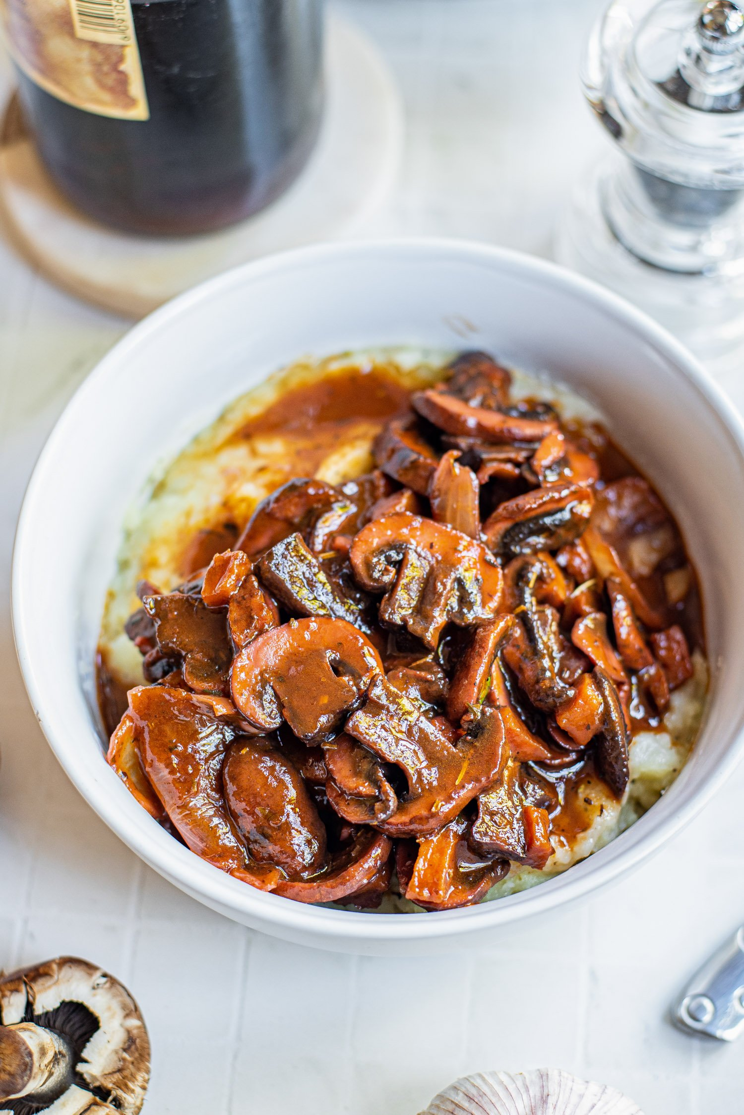 mushrooms served over mashed potatoes in a bowl