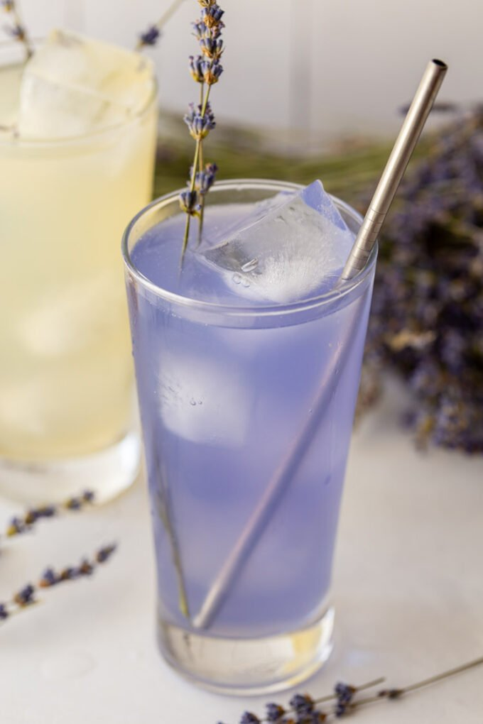 purple colored beverage made with lemon juice and lavender