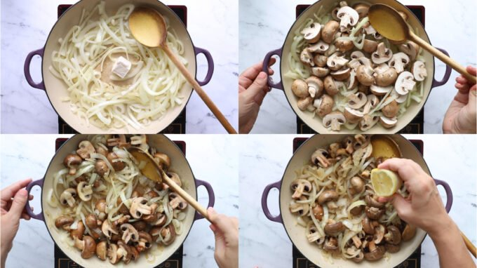collage image of 4 pictures showing the steps to sauteeing onion and mushrooms in a large purple skillet