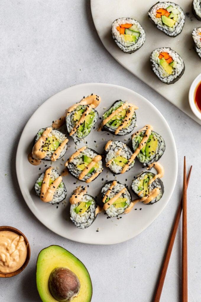 avocado sushi rolls on a plate