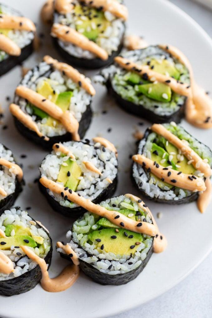 vegan sushi rolls made with avocado