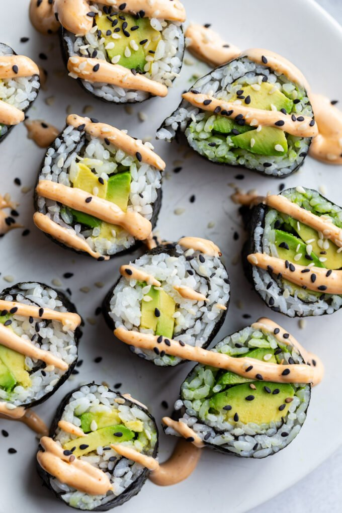 avocado rolls on a plate