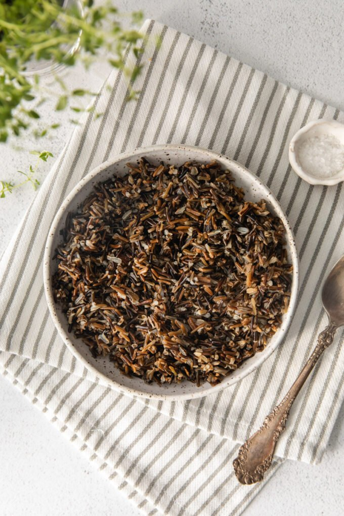 wild rice in a white serving bowl