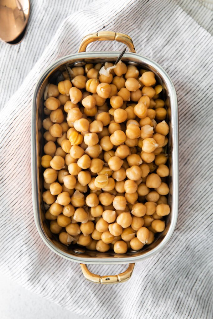 cooked chickpeas in a serving bowl