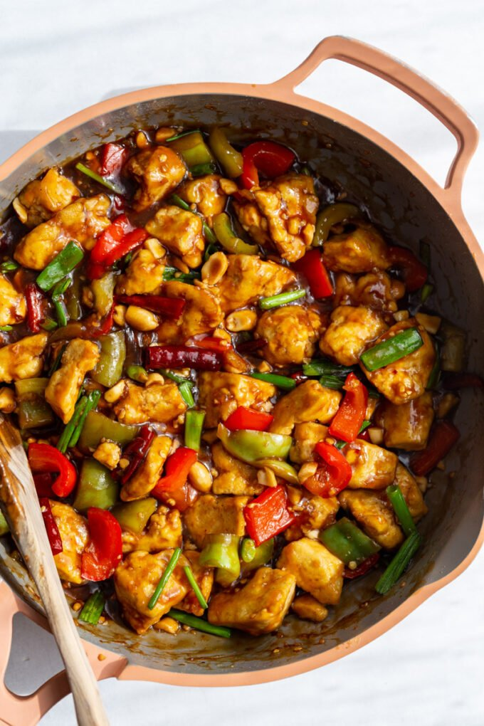 skillet filled with cooked Kung Pao Tofu
