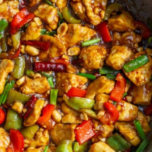 Kung Pao Tofu cooked in a large skillet