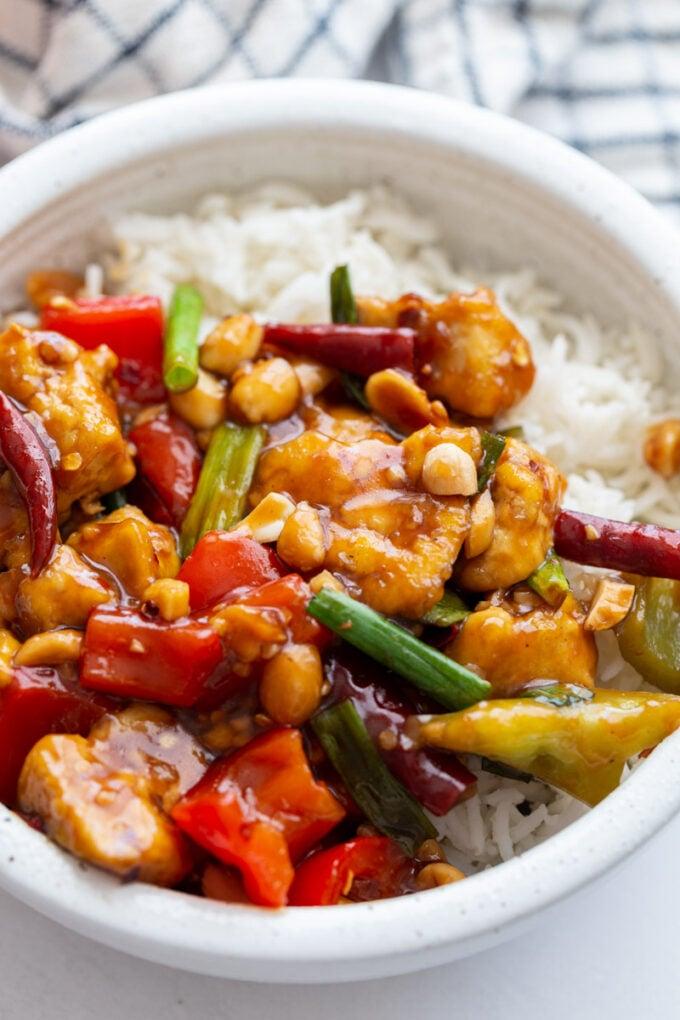 Kung Pao Tofu served over white rice